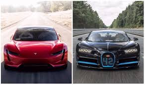 bugatti chiron crash tesla roadster vs bugatti chiron this image clearly tells who u0027s
