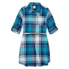 arizona belted long sleeve cuffed sleeve shirt dress big kid