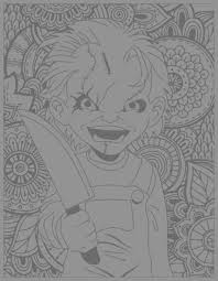 horror chucky halloween coloring pages for adults justcolor