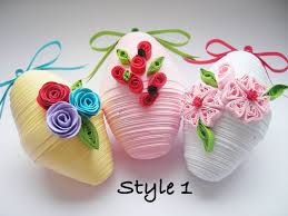 set of 3 flowered easter eggs ornaments paper quilling 3d