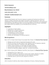 Production Resume Examples by Professional Chemical Plant Operator Templates To Showcase Your