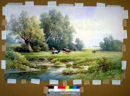complementary paint colors inpainting overpainting paper art using mixed dry pigments and