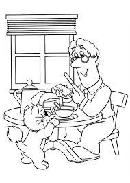 postman pat eating breakfast cat jess coloring pages