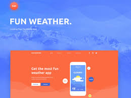 fun weather a free landing page template for your apps freebiesbug
