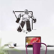 compare prices on wall goalkeeper online shopping buy low price dctop sport boys bedroom ice hockey goalkeeper wall decal art vinyl removable home decor wall sticker