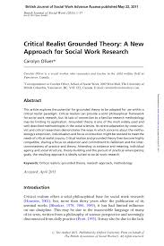 critical realist grounded theory a new approach for social work