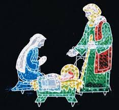 outdoor christmas 3pc lighted holographic nativity 175 lights