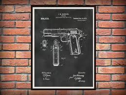 patent m1911 browning 45 caliber pistol art print poster fire