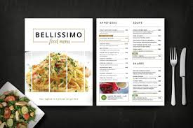 pages menu template modern restaurant menu bellissimo brochure templates