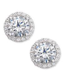 earrings s arabella swarovski zirconia halo stud earrings in sterling silver