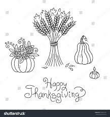 thanksgiving vector art doodle thanksgiving vintage sheaf wheat pumpkin stock vector