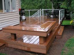 Deck Wood Bench Seat Plans by Small Wooden Deck Idea Glossy Wood Deck With Wood Bench And