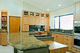 Eco Kitchen Design by Alluring Contemporary Kitchen With Green Granite Table Top And