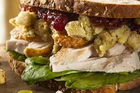 leftover thanksgiving dinner turkey sandwich stock