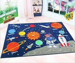 Learning Rugs Blue Kids Fun Area Rug Nursery Rugs Solar System Children Carpet