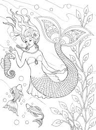 937 colouring sea fish mermaids shells