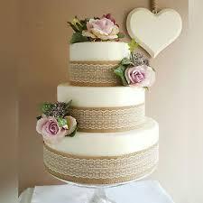 diy wedding cake decoration topper with roses hessian u0026 lace