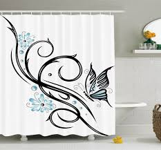 Interior Design With Flowers Ambesonne Tattoo Leaf Like Design With Flowers And A Flying