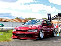 mitsubishi evo 8 red stanced mitsubishi evo at first class fitment mind over motor