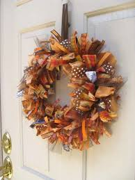 18 inch strips of ribbon in knots around a straw wreath fall