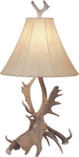 fallow deer antler table lamp w rawhide shade