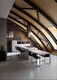 Kitchen Island With Table Cozy Loft With An Arched Ceiling And A Masculine Vibe