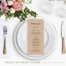 diy wedding menu cards rustic printable wedding menu template 4x9 wedding menu cards