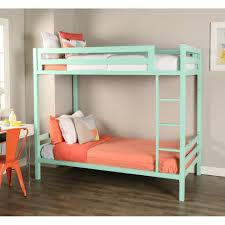 Twin Metal Loft Bed With Desk Bentley Twin Over Twin Metal Bunk Bed Mint By Walker Edison