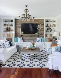 Cozy Spring Home Tour Blue White And Aqua Living Room With - Rustic accents home decor