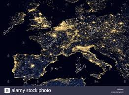 Europe On World Map by City Lights On World Map Europe Stock Photo Royalty Free Image