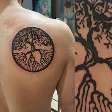 black ink ash tree on right back shoulder