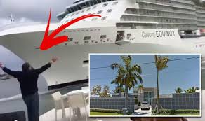 cruise ship waved by homeowner as it heads for his house in
