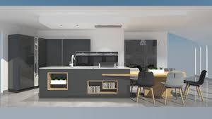 cuisine et grise cuisine moderne avec îlot phénix gris anthracite et bois