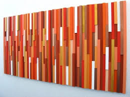 crafted orange wood abstract wall by modern rustic