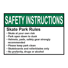ansi skate park rules skate at your own risk sign asie 32792