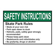 ansi skate park rules skate at your own risk sign asie 32792