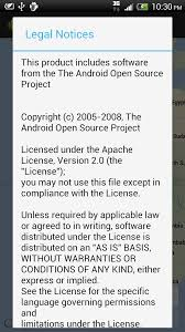 android license android er include open source software license information