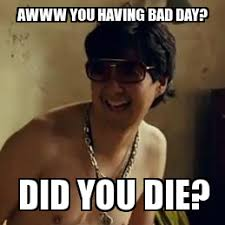 Did You Die Meme - mr chow bad day 2 awww you having bad day did you die