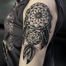 Dreamcatcher Sleeve - black and grey dreamcatcher on left half sleeve by samuele