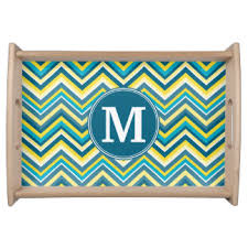 monogrammed serving tray turquoise serving trays food trays zazzle