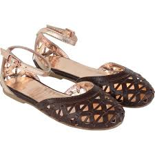carrement beau leather chocolate openwork sandals with rose gold ankle
