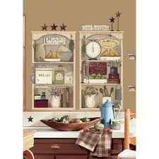 27 in x 40 in country kitchen shelves 17 piece peel and stick