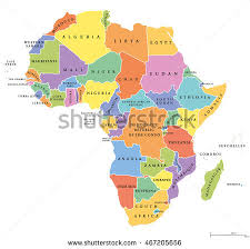 africa map states africa single states political map each stock vector 467205656