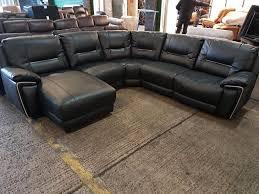 Leather Recliner Corner Sofa Harvey U0027s Reid Hedgmoore Black Leather Recliner Corner Sofa Modular