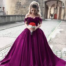 satin ball gown wedding dress off shoulder bride dress cheap lace