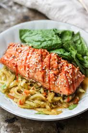 Noodle Salad Recipes Honey Lime Sriracha Salmon With Cold Sesame Cucumber Noodle Salad