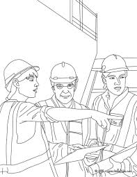 architect on the construction site with the workers coloring pages
