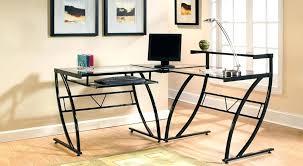 Techni Mobili Graphite Frosted Glass L Shaped Computer Desk Techni Mobili L Shaped Computer Desk Glass L Shaped Desk Z Line