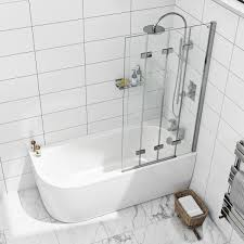6mm frameless right handed 4 screen folding hinged bath screen