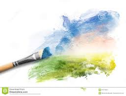 painting the spring landscape brush with blue paint over sky and